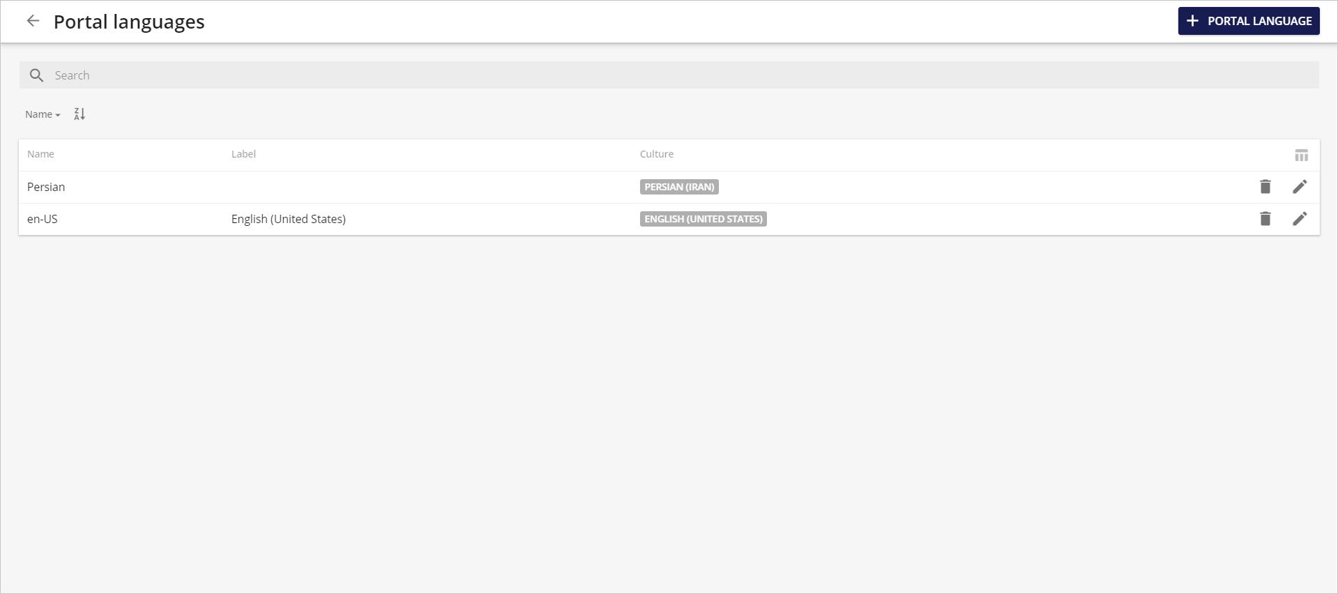 Portal Languages Page
