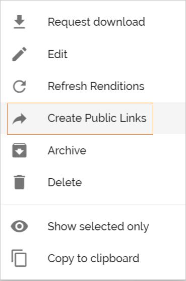 on create public links icon on menu