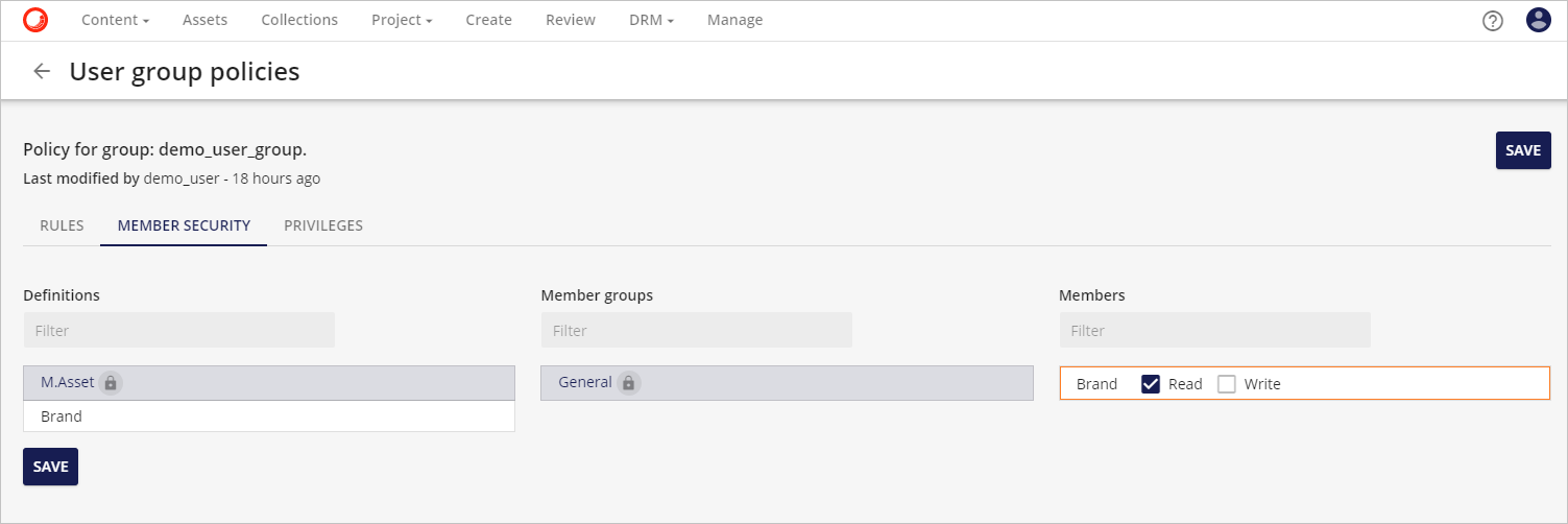 member security with secured read or write option